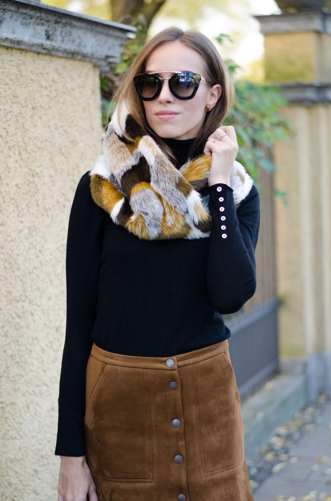 kristjaana mere prada cat eye sunglasses faux fur collar black pullover fall outfit