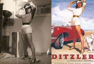 "Elvgren - model: Janet Rae ""Ditzler Advertisement"""