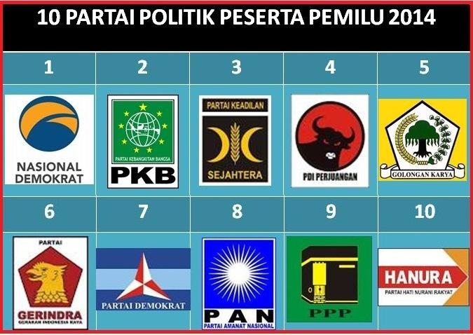 10 Nomor Urut Partai Politik Peserta Pemilu 2014
