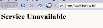 IRCTC Service Unavailable Error