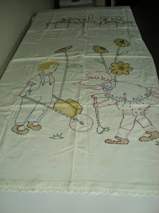 Vintage Embroidered Crib Sheet