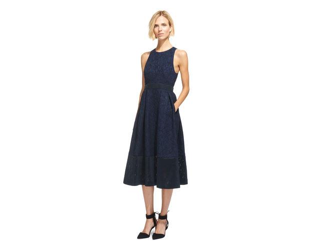whistles navy lace dress, whistles dress pockets, navy pocket dress,