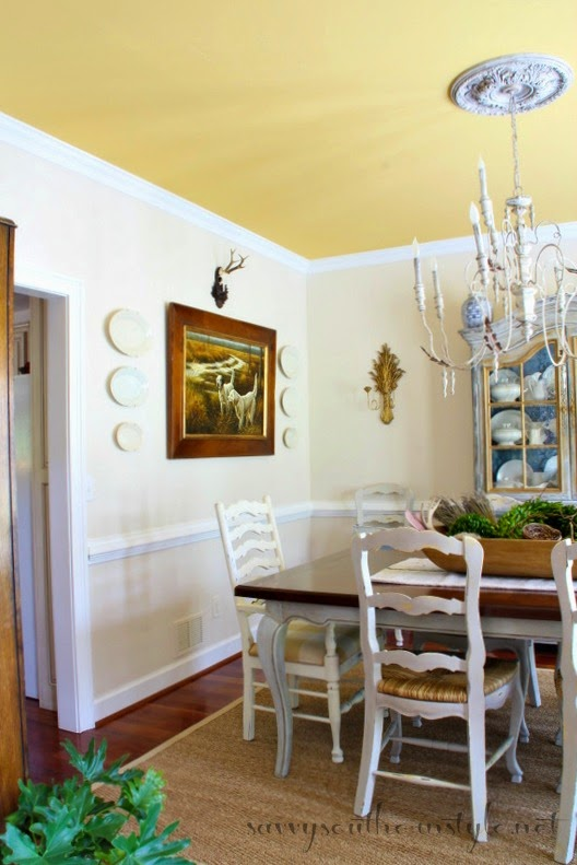 french country dining room painted furniture. I Love The Way Yellow Ceiling Is Picked Up With Grasses In Painting. French Country Dining Room Painted Furniture