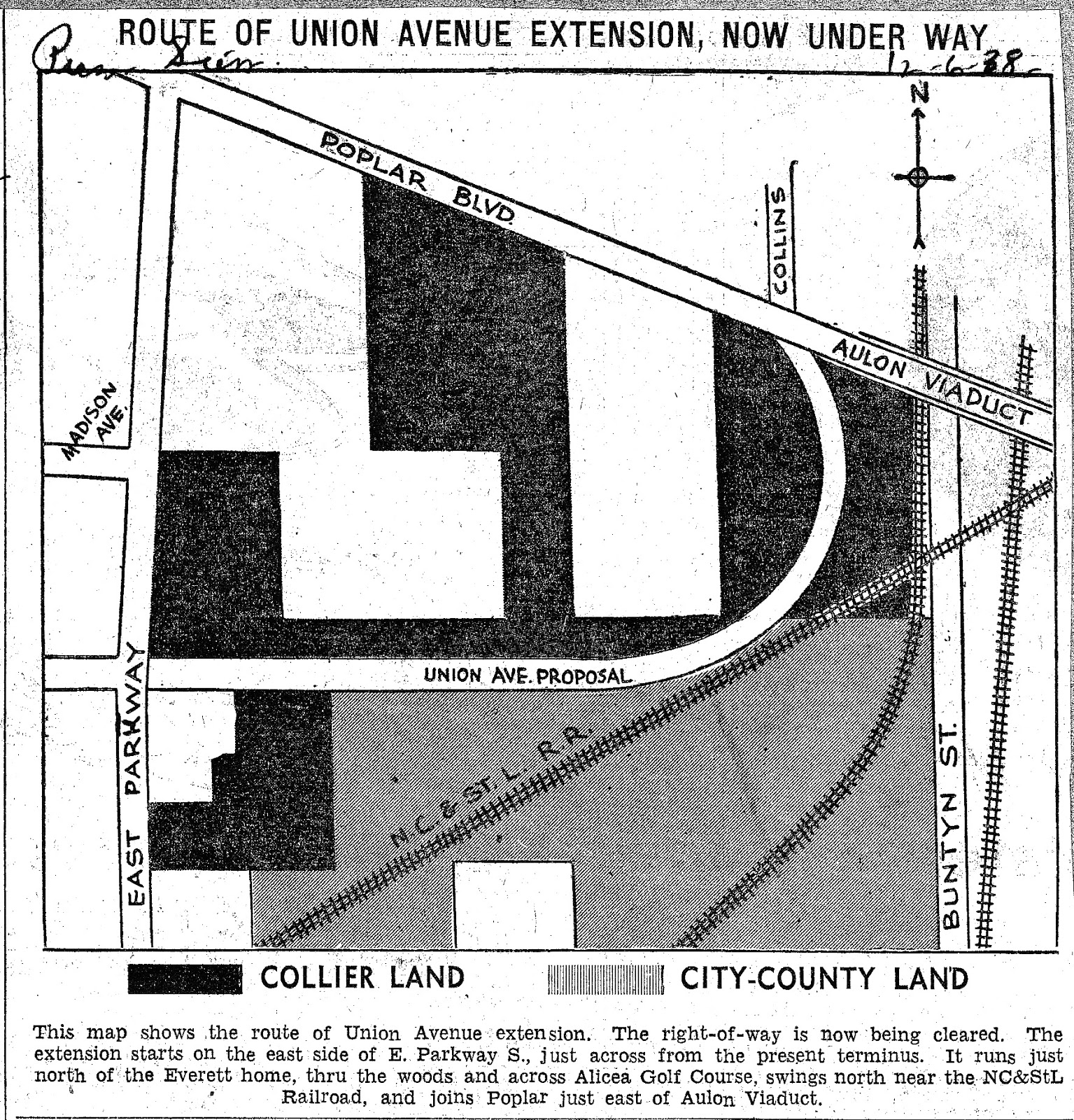 this map is from the dec 6 1938 press scimitar it shows the planned extension of union to connect to collins street image digitized by john dulaney