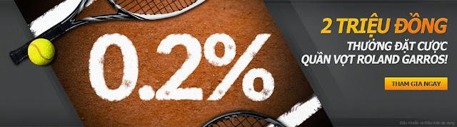 Khuyến mãi lớn hoàn trả cược Quần vợt Pháp mở rộng 2015 2000,000 Đồng
