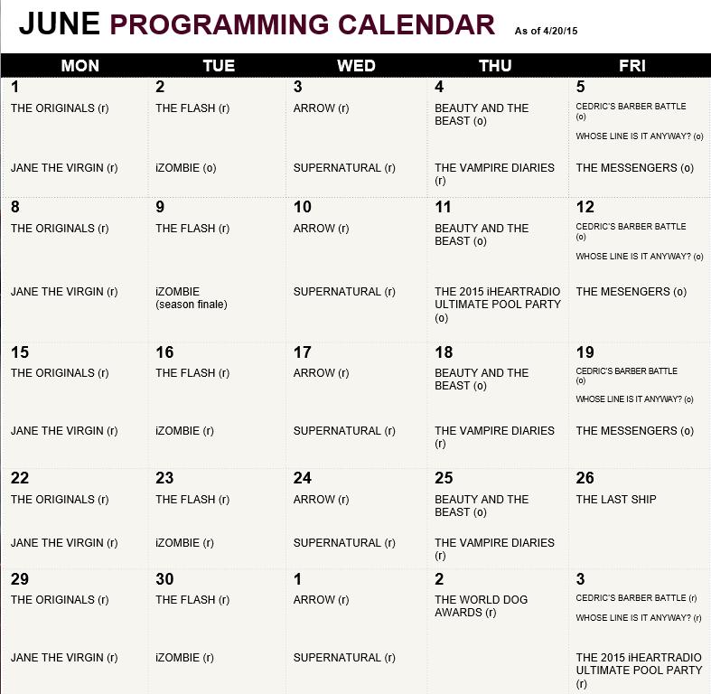 Calendar Showing June : The cw primetime calendar june and july