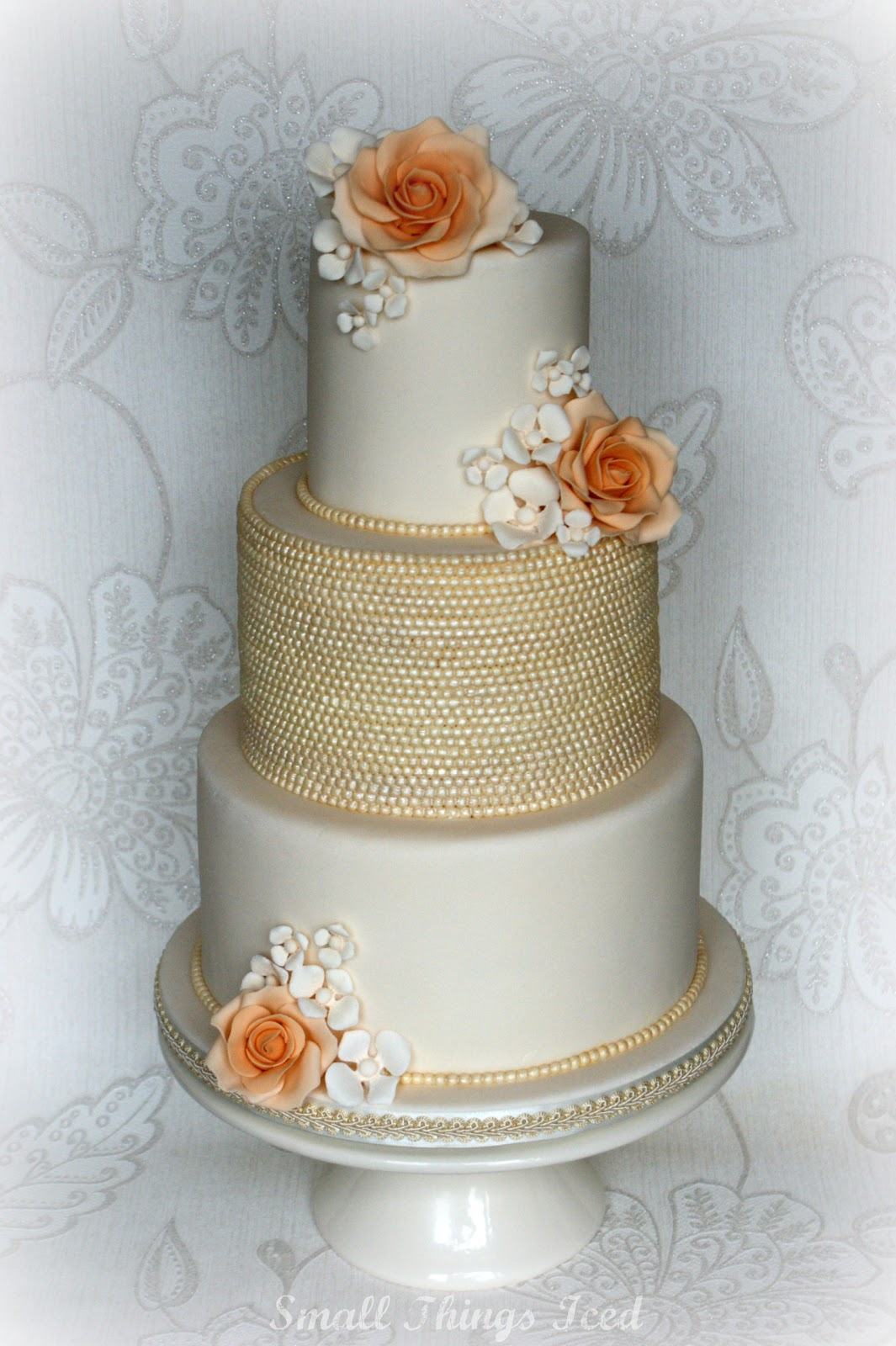 Small Things Iced Vintage Floral Pearl Wedding Cake