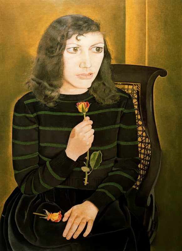 Lucian Freud - girl with roses,1948.