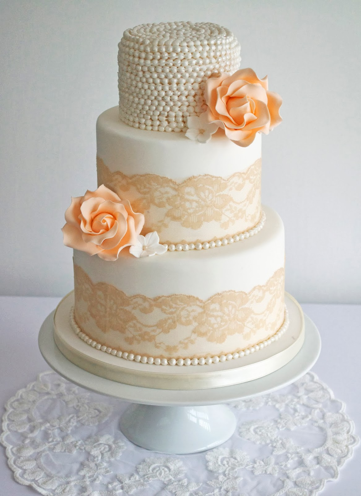 Peach Vintage Lace & Pearls Wedding Cake