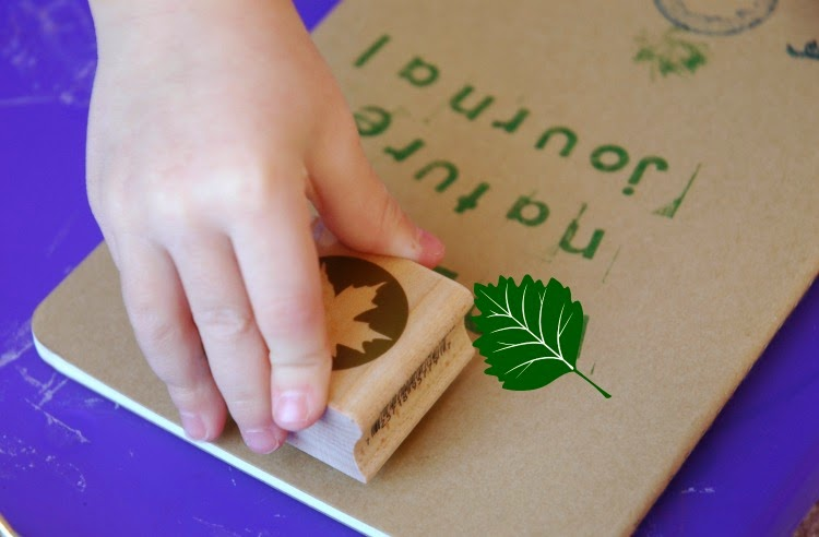 using rubber stamps to decorate preschool nature journals