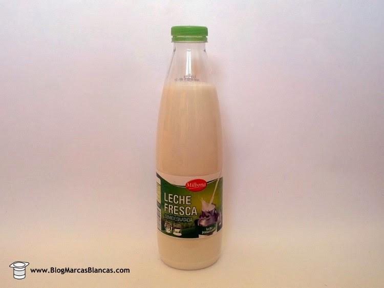 Leche fresca semidesnatada MILBONA de Lidl fabricada por Leite Rio.
