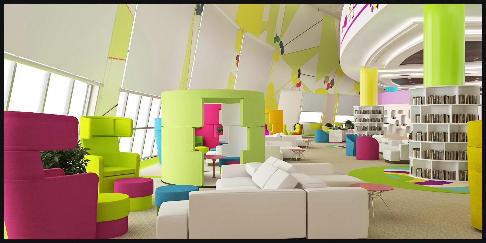 3d visual designs library kids interior 03 for Interior designs for kids