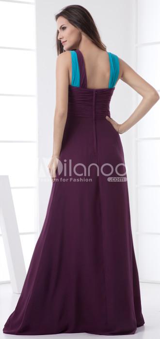 Longueur au sol en mousseline de soie de raisin A-ligne Mesdames robe occasion spéciale