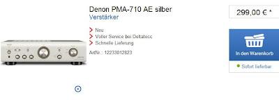 Vollverstärker Denon PMA-710AE bei deltatecc mit Gutschein-Code für 269 Euro inklusive Versandkosten