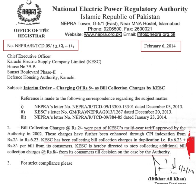 Consumer complain against ke k electric karachi nepra interm circular for the collection of bank charges spiritdancerdesigns Gallery