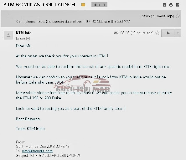 KTM RC 200 AND RC 390 LAUNCH DATE - WHAT KTM INDIA SAY'S
