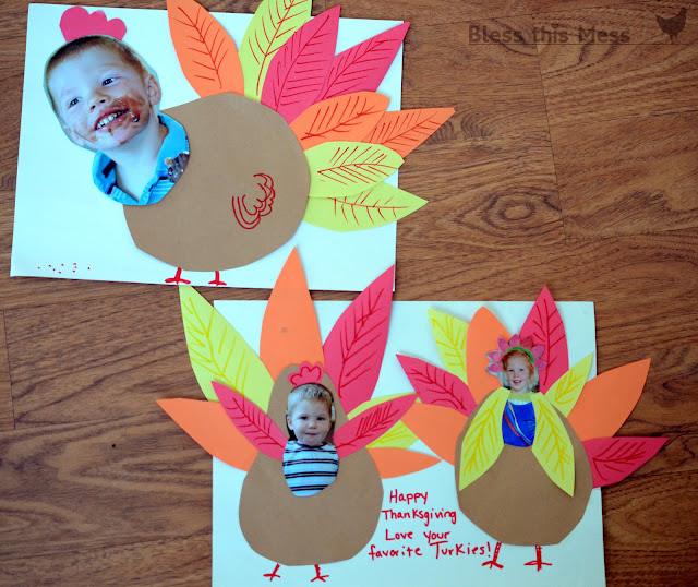 fall craft ideas, turkey yourself, turkey with pictures of kids, kid head on turkey body