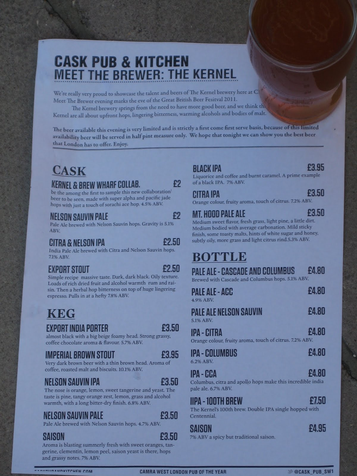 the beer monkey: The Kernel at Cask Pub and Kitchen