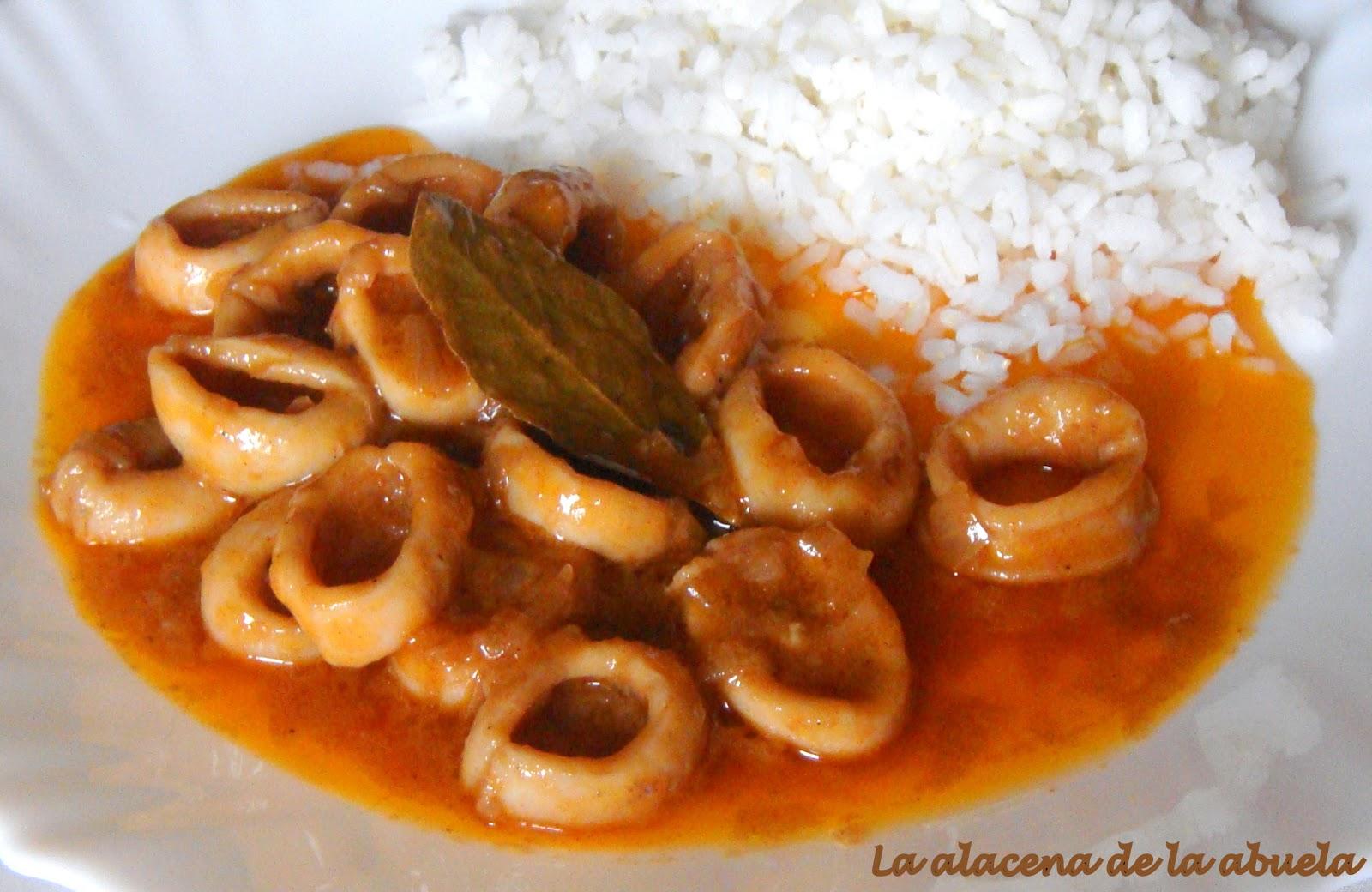 La alacena de la abuela carmen calamares en salsa for Cocina casera de la abuela