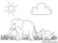 Mewarnai Gambar Induk Gajah Dan Anak Gajah