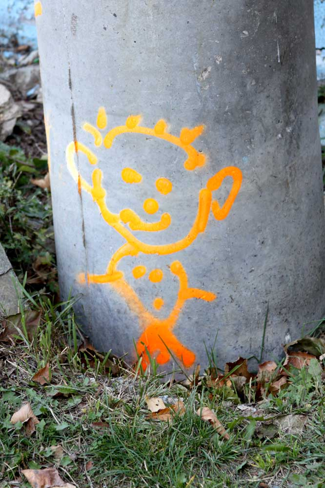 graffiti - an orange pixie - or is it Calvin?