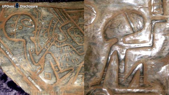 Découvert à Puebla, au Mexique, pierres de jade avec des figures extra-terrestres.