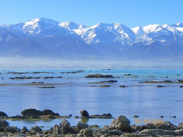 Vistas de las montañas desde la Península de Kaikoura