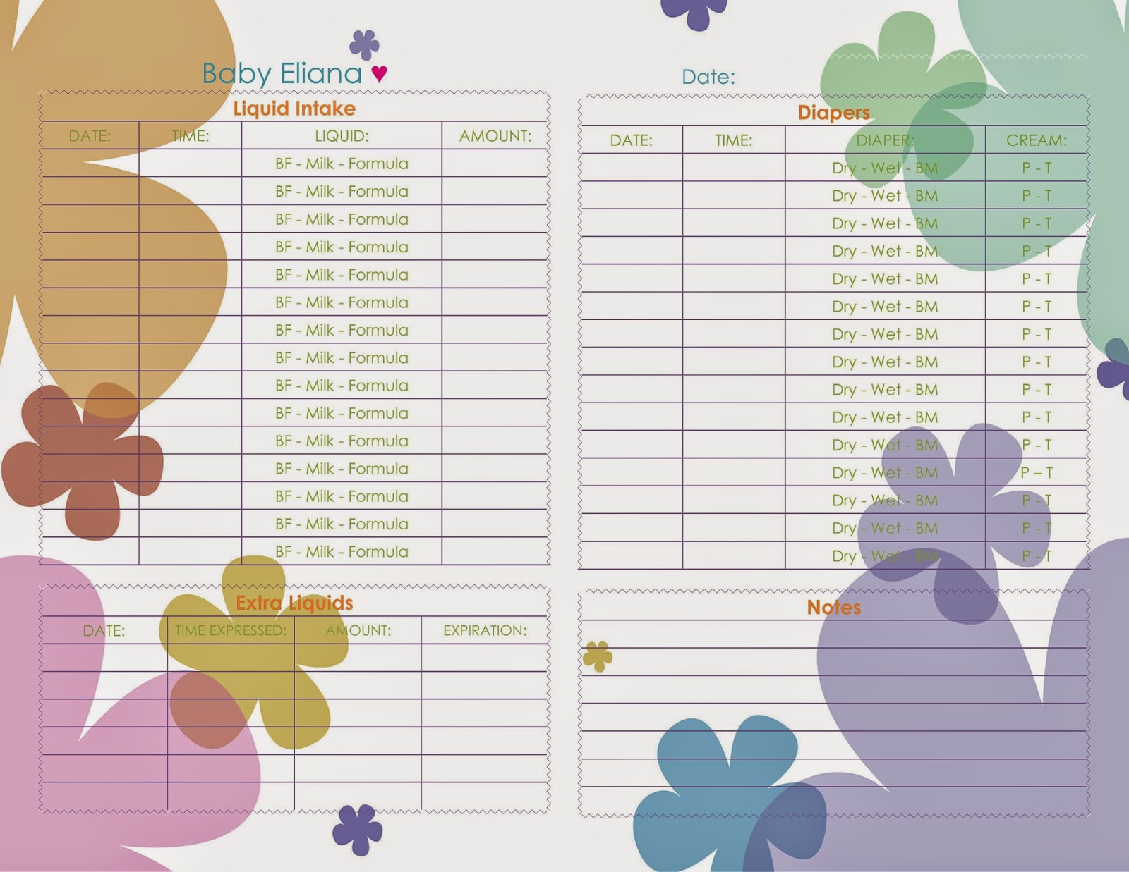 a little bit of everything baby daily tracking sheet