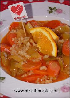 Portakallı Zeytinyağlı Pırasa tarifi-bir dilim aşk