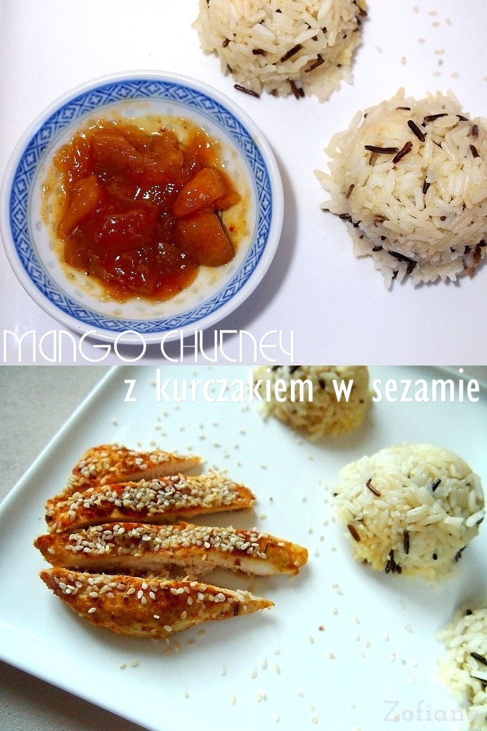 chicken in sesame with mango chutney