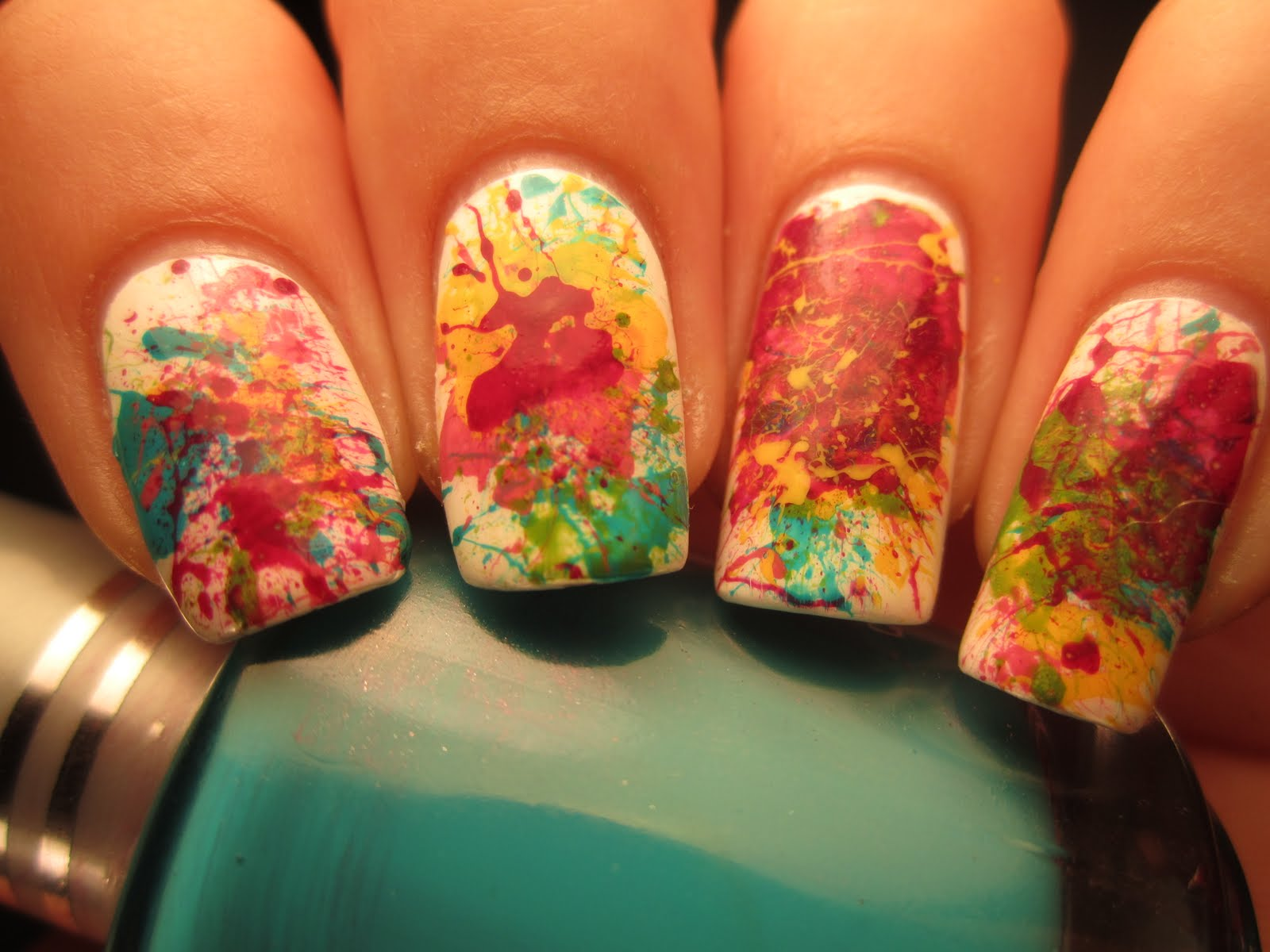 Color Splatter Nails Splatter Nail Art Tutorial