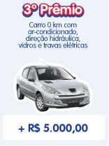 rio de premios 346 - No 3º. Prêmio Carro Zero KM com ar-condicionado, direção hidraúlica, vidros e travas e ainda leva mais 5 mil reais em dinheiro vivo.