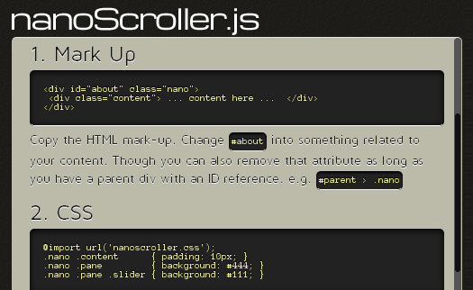 2. nanoScroller a Lion-styled jQuery scrollbars