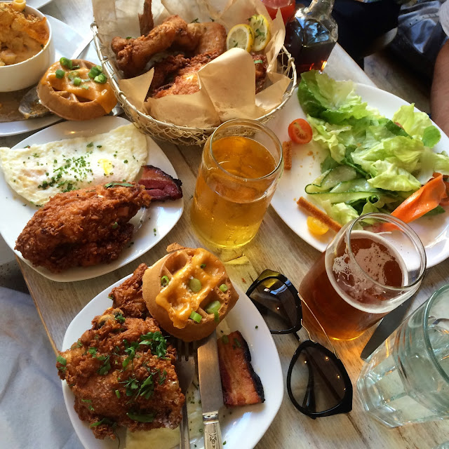 fried chicken, buttermilk cheddar waffles, mac and cheese, pork belly bacon, arnold palmer, peach caprese salad at root and bone brunch in nyc