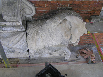 The restored horse carving is fixed in place at Beningbrough Hall