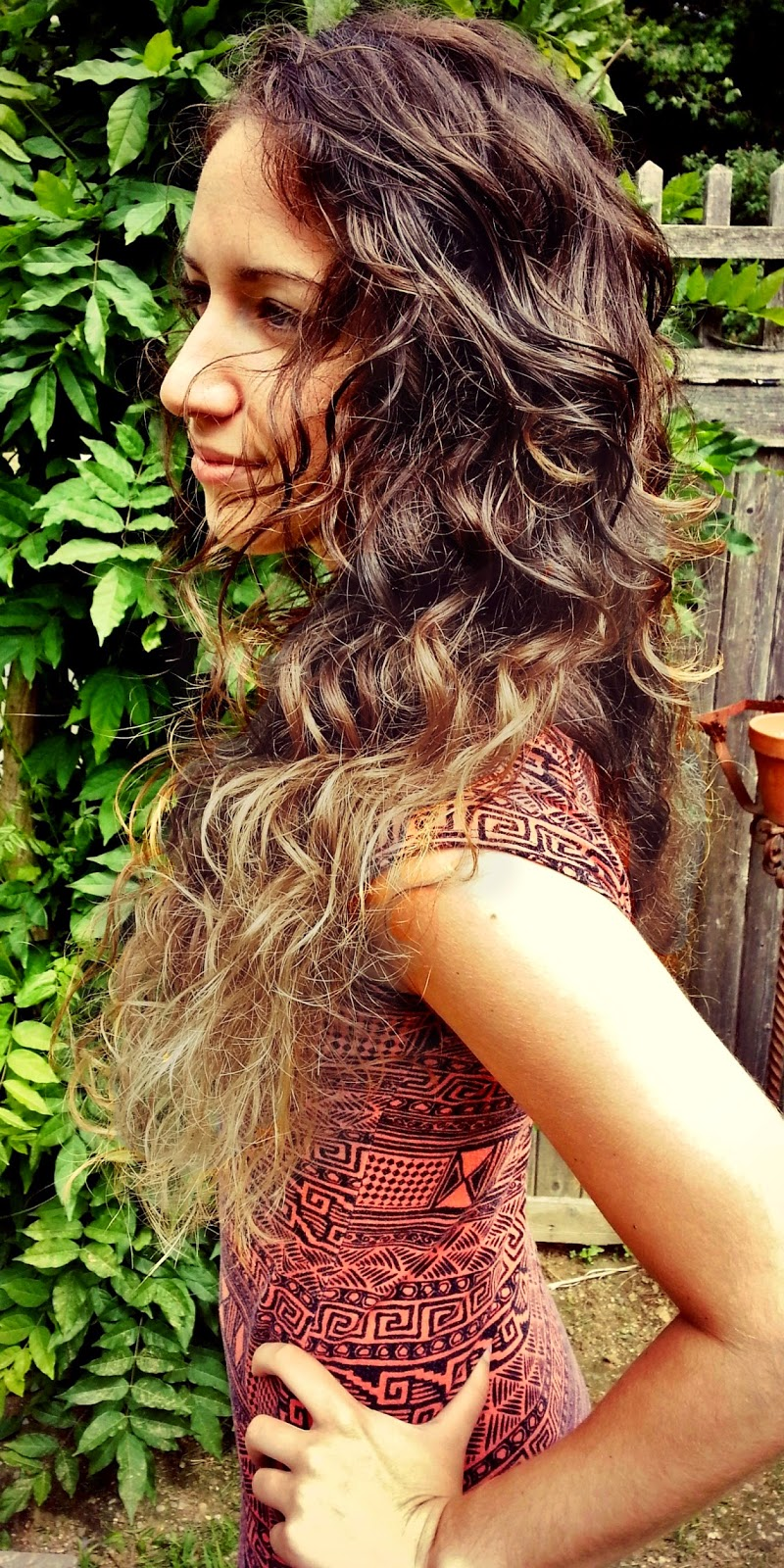 Naturally long curly hair