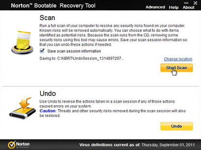 Norton Bootable Antivirus Disc/ USB