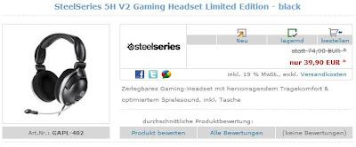 Gaming-Headset Steel Series 5H v2 für 43,89 Euro inklusive Versandkosten
