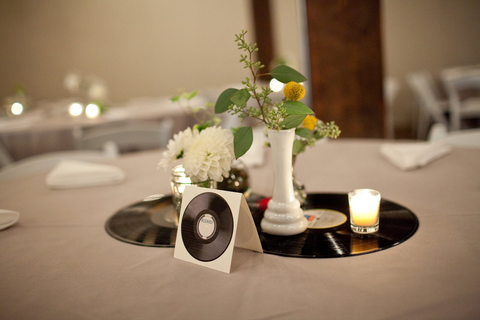 Music themed wedding julie blanner for Record decoration ideas