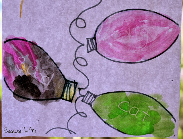 Because I'm Me Christmas Lights Sight Words Watercolor Activity, great for preschoolers through early elementary, finding hidden words using watercolor paints