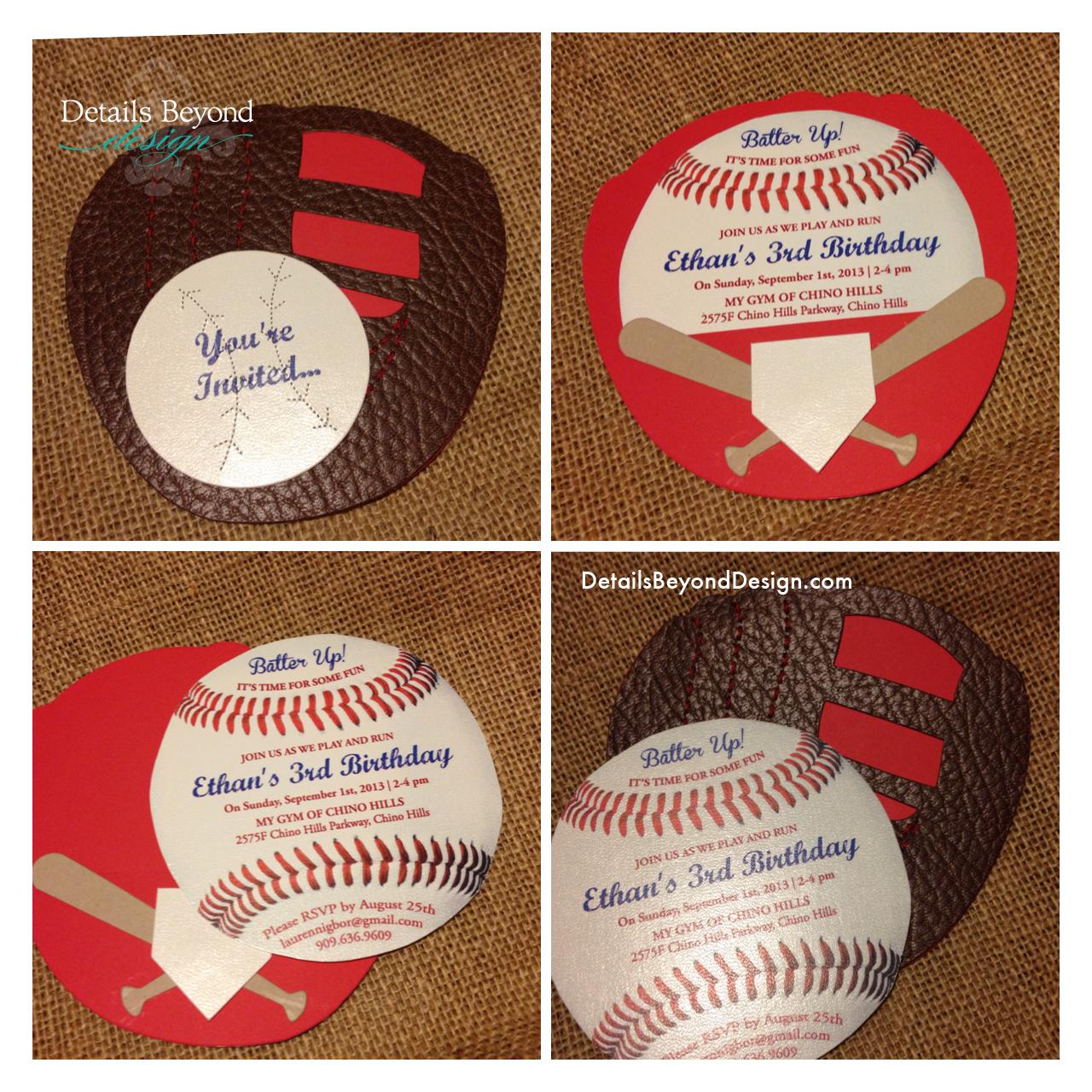 Details Beyond Design By Lauren Baseball Birthday Invitation