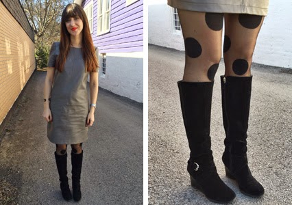nashville fashion, nashville style, nashville blogger, polka dot tights, grey leather dress, steve madden boots, new high suede boots, office wear, office casual