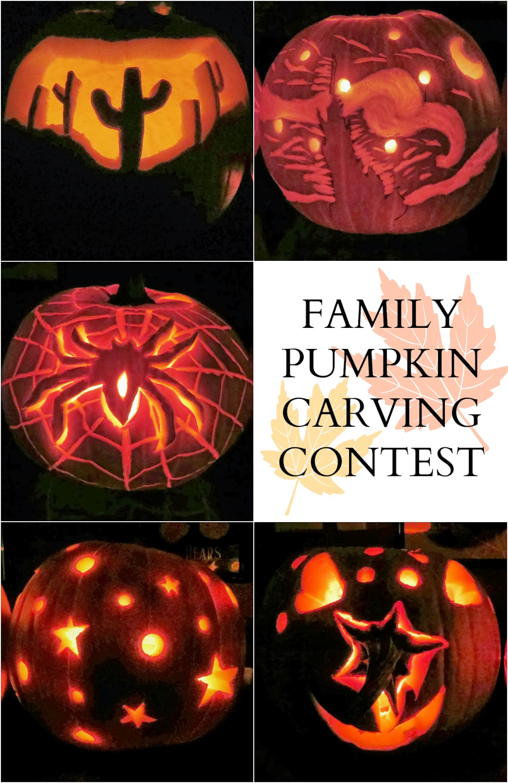 Family Pumpkin Carving Contest, carved pumpkins