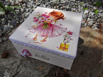 Pamiątka Pierwszej Komunii Świętej, szkatułka z dedykacją dla dziewczynki, mała księżniczka