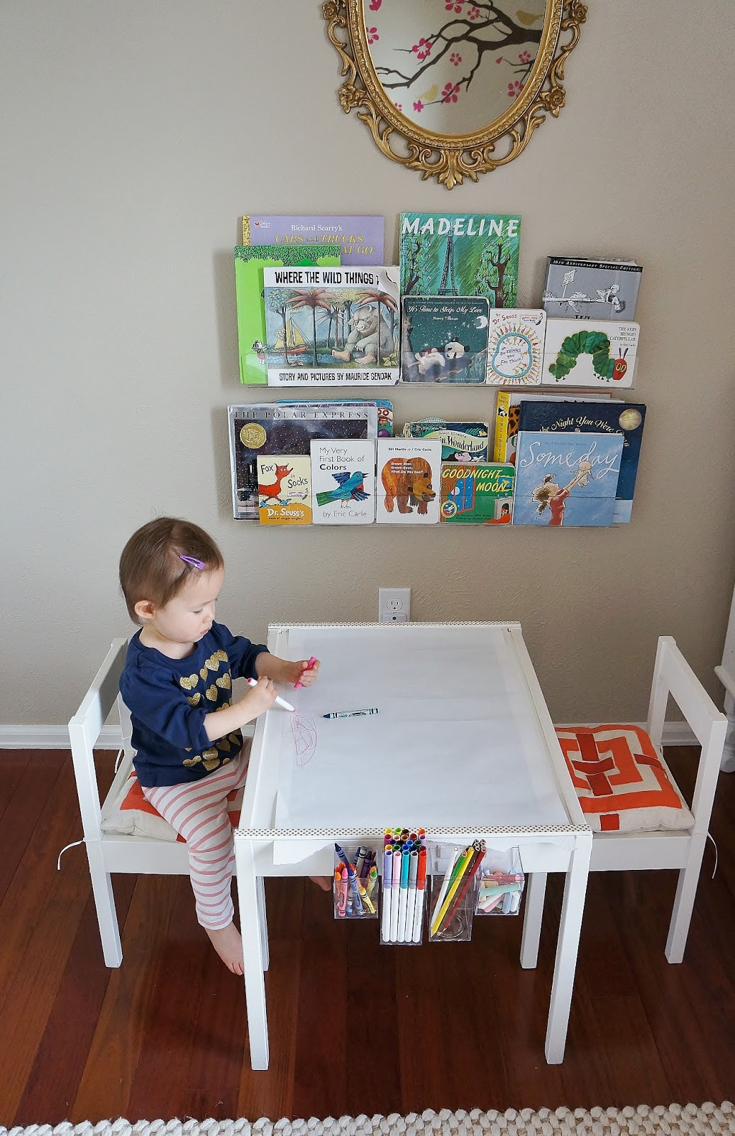 Clear acrylic book ledges are from here (we have the 24 inchers). & freckles chick: Quinn\u0027s art table (an Ikea LATT hack)