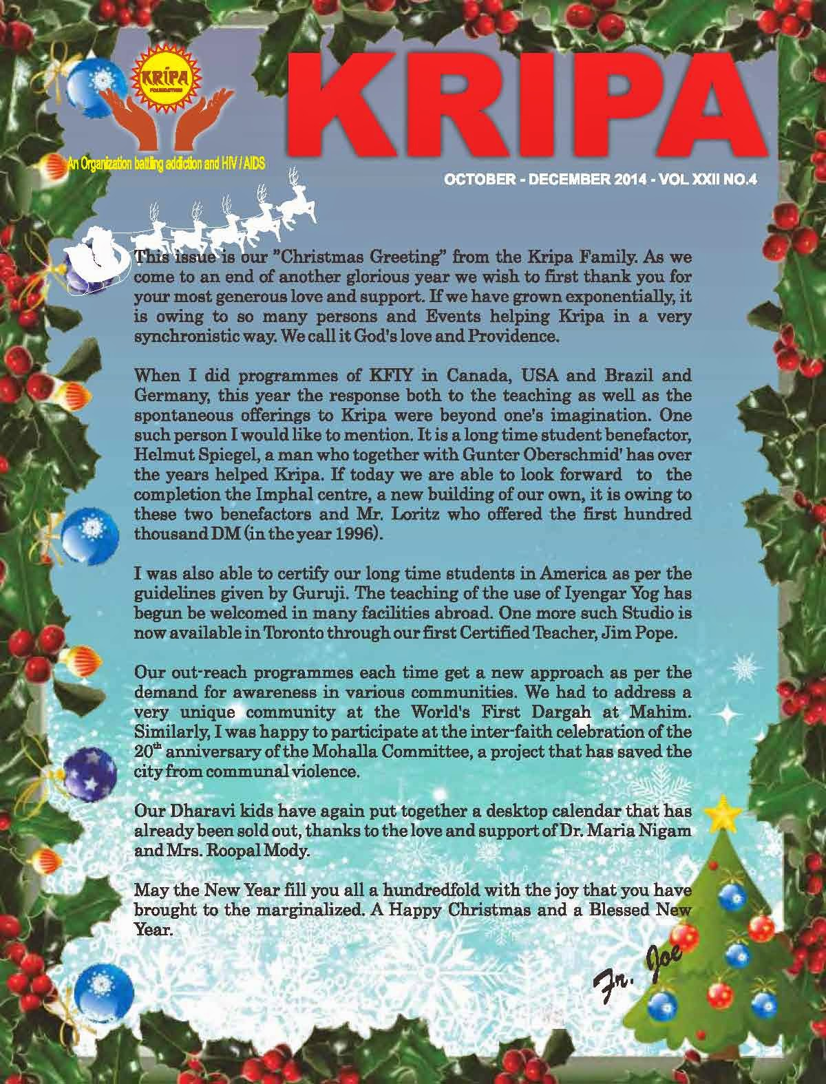 Kripa foundation india fr joes christmas greetings and wishes fr joes christmas greetings and wishes for the new year 2015 latest newsletter kristyandbryce Image collections