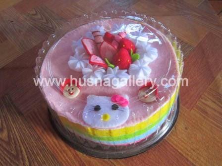 kado lahiran aqiqah handuk towel cake tart baby born hello kitty