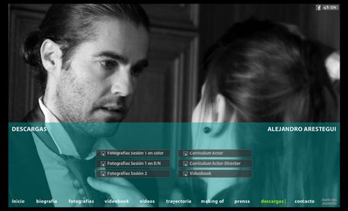 página web del actor Alejandro Arestegui (2ª versión) desarrollada por pepeworks
