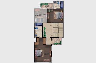 Czar Villas  :: Floor Plans,Type A:-First Floor2 Bedroom, 2 Toilet, Stairs, 2 Balconies, Expandable Area Area - 120 Sq. Yds. (1890 Sq. Ft.)