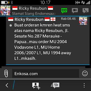 Detail alamat dan pesanan jersey Ricky Resubun di enkosa sport toko jersey retro